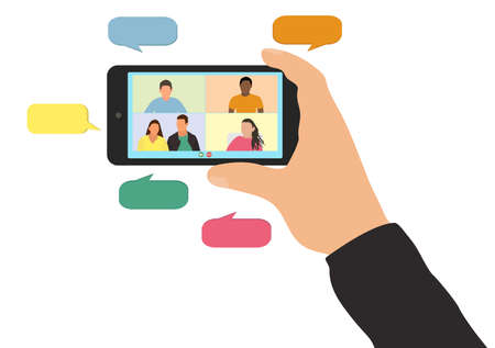 Video call with friends or colleagues at work. Hand of man holding smartphone, screen shows people with bubbles. Virtual online communication, distance conversation. Vector illustration. Illusztráció