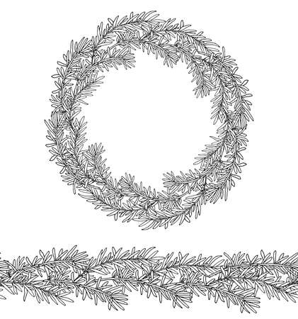 Hand drawn, rosemary twig frame and seamless pattern, which can be used as seamless brush to create frames, patterns, etc. Vector illustration Illusztráció