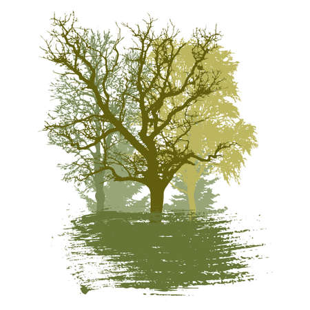 Spring trees and smear brush, logo, badge. Silhouette of beautiful oak and birch and poplar and fir trees. Vector illustration.