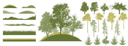 Forest, constructor kit. Silhouettes of beautiful birch, fir trees, poplar, grass, hill. Collection of element for create beautiful spring forest or park, woodland, landscape. Vector illustration.