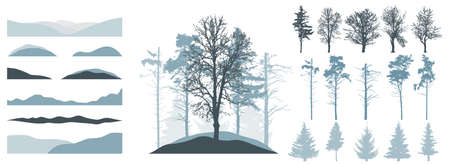 Forest, constructor kit. Silhouettes of beautiful spruce trees, pine, bare trees, snow hill. Collection of element for create beautiful winter forest, park, woodland, landscape. Vector illustration. Ilustração