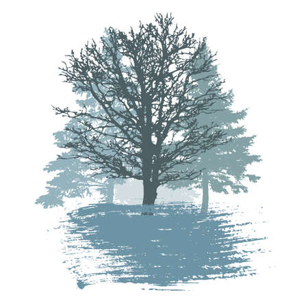 Winter trees and smear brush, logo, badge. Silhouette of beautiful oak and spruce trees and bush. Vector illustration.