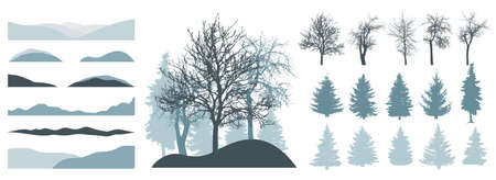 Constructor kit. Silhouettes of beautiful bare trees, Christmas trees, snow hill. Creation of winter beautiful park, forest, landscape, collection of element. Vector illustration.