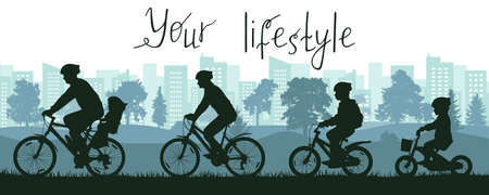Your lifestyle, city life, silhouette of large family riding on bicycles outside city near park. Vector illustration Stock Illustratie
