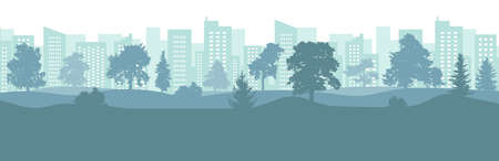 City park silhouette with beautiful trees on background of skyscrapers and tall buildings. Vector illustration. Ilustração