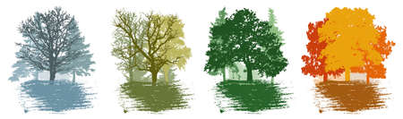 Four season, set of winter and spring and summer and autumn landscape, forest. Beautiful silhouettes of different trees. Vector illustration. Stock Illustratie