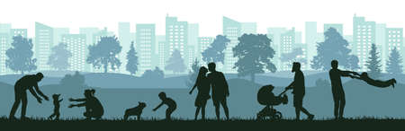 Lifestyle of people, silhouette of happy family, man, woman and child. First steps baby, birth of child, love, happiness. Vector illustration.