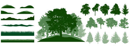 Constructor kit. Silhouettes of beautiful spruce trees, pine, other trees, grass, hill. Creation of summer beautiful park, forest, landscape, collection of element. Vector illustration.