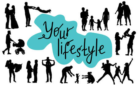 Your lifestyle. Concept of creating family and happiness. Silhouettes of people, parents with children, wedding, birth of child, the first steps of child, love. Vector illustration Ilustração