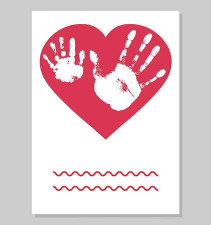 Greeting card. White imprint of baby palm hand and man palm in red heart shape. Handprints of son and father. Vector illustration. Ilustração