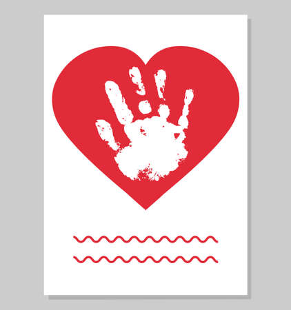 Greeting card to mother from child. White baby handprint in red heart shape. Vector illustration. Stock Illustratie