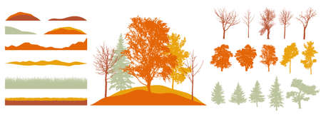 Constructor kit. Silhouettes of beautiful bare trees, birch, fir, other trees, grass, hill. Creation of autumn beautiful park, forest, landscape, woodland, collection of element. Vector illustration.