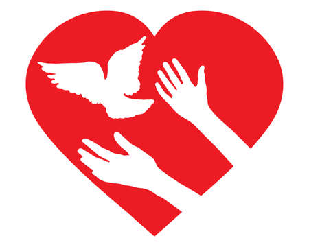 Female hands let bird go free and pigeon flies, in shape of heart. Concept of peace, hope, love and goodness. Woman and bird. Vector illustration