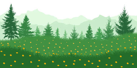 Spring nature. Meadow with yellow dandelions on background of green forest and mountains. Vector illustration.