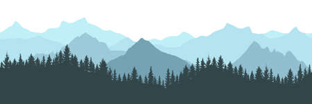 Beautiful forest on background of mountains, blue color. Silhouette of fir trees. Vector illustration. Ilustração