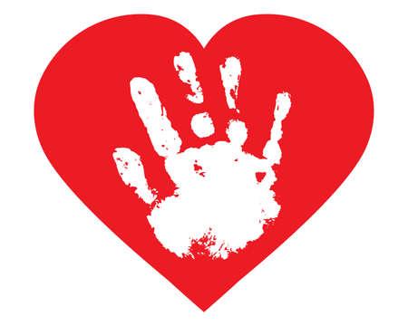 Baby palm of hand inside heart shape, handprint. Vector illustration Ilustracja