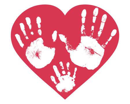 Handprints of family, imprint of palm hand of mother, father and baby in heart shape. Vector illustration