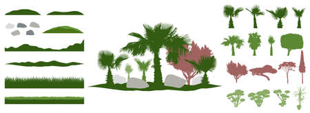 Constructor kit. Silhouettes of beautiful decorative trees, bonsai and palm tree and topiary and pine, stone, grass, hill. Creation of summer beautiful landscaped garden, collection of element. Vector illustration. Ilustracja