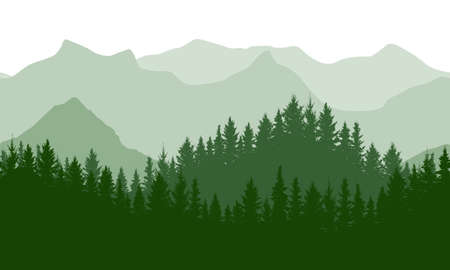Seamless green wave forest on background of mountains, silhouette. Beautiful landscape. Vector illustration.