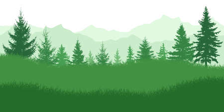 Spring nature, landscape. Green meadow on background of green forest and mountains. Vector illustration. Ilustracja