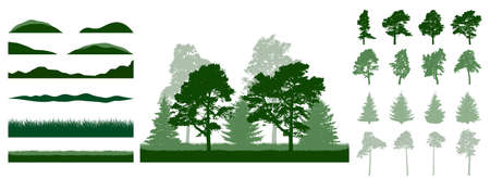 Constructor summer woodland, landscape. Silhouettes of beautiful spruce trees, pine, other trees, grass, hill. Creation of beautiful park, forest, etc. Collection of design element. Vector illustration
