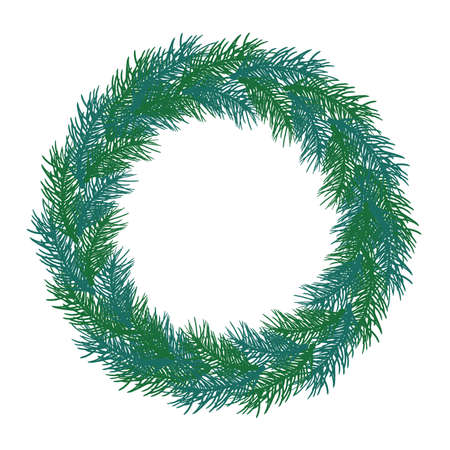 Wreath of branch fir tree. Circle frame, isolated. Vector illustration.