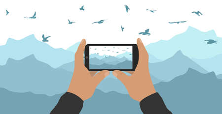 Male hands hold phone and take picture of mountain peak and flying birds. Vector illustration
