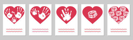 Greeting card, set. Handprints of family, imprint of palm hand of mother, father and baby, imprint of lips in red heart shape. Vector illustration Ilustracja