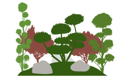 Silhouette of garden with decorative trees. Beautiful bonsai, cypress and other coniferous trees. Vector illustration. Ilustracja