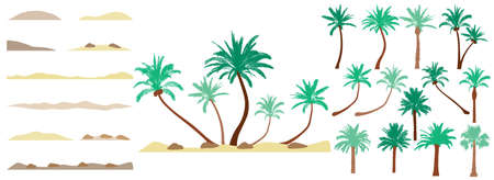 Design element of palm trees, constructor collection. Beautiful palm trees, sand, stone. Creation of beautiful exotic island, beach and etc. Vector illustration.