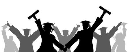 Cheerful graduates in academic square caps with diploma, silhouette. Termination of study at university, college. Education, graduation. Vector illustration. Applied clipping mask, can be change.