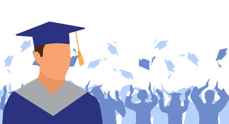 Caucasian man graduate in mantle and academic square cap on background of cheerful crowd of graduates throwing their academic square caps. Graduation ceremony. Vector illustration