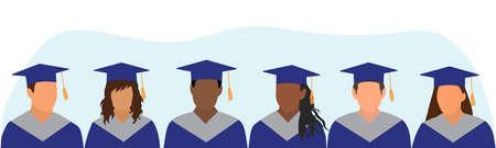Graduates of different ethnicity in dark blue mantle and academic square cap. Graduation ceremony. Vector illustration