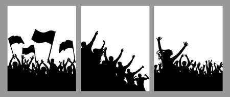 Vertical poster with silhouettes of crowd of people, set. Protest with flags, happy fan people, cheering crowd. Vector illustration Ilustracja