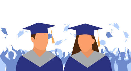 Girl and boy graduate in mantle and academic square cap on background of cheerful crowd of graduates throwing their academic square caps. Graduation ceremony. Vector illustration Ilustracja
