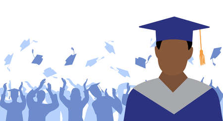 African American man graduate in mantle and academic square cap on background of cheerful crowd of graduates throwing their academic square caps. Graduation ceremony. Vector illustration