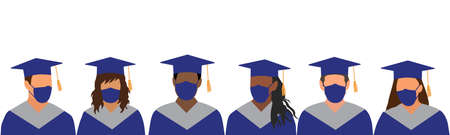 Graduates of different ethnicity in dark blue mantle and academic square cap, and in medical mask. Graduation Ceremony in Disease Pandemic. Protection from diseases. Vector illustration