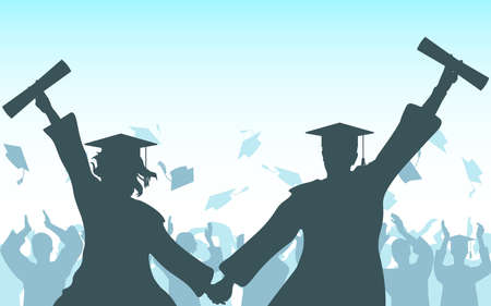 Graduates girl and guy hold hands with diploma on background of cheerful crowd of graduates throwing their academic square caps. Graduation ceremony. Vector illustration