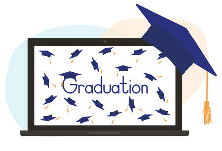 Virtual graduation ceremony. Monitor of laptop and square academic cap or mortarboard. Vector illustration Ilustração