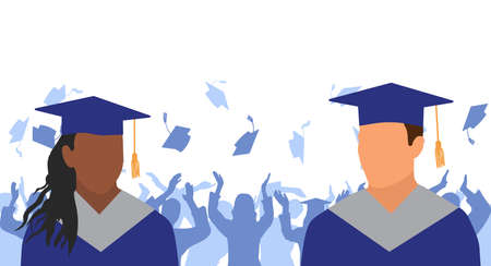 African American girl and Caucasian boy graduates in mantle and academic square cap on background of cheerful crowd of graduates throwing academic square caps. Graduation ceremony. Vector illustration Ilustracja