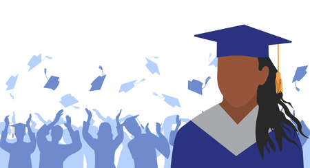 African American girl graduate in mantle and academic square cap on background of cheerful crowd of graduates throwing their academic square caps. Graduation ceremony. Vector illustration