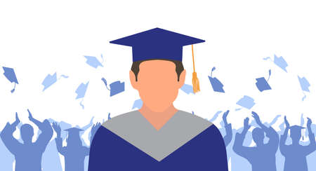 Man graduate in mantle and academic square cap on background of cheerful crowd of graduates throwing their academic square caps. Graduation ceremony. Vector illustration