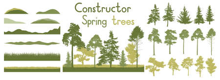Spring trees, constructor kit. Beautiful silhouettes of spruce and pine and coniferous trees and etc., grass. Set of design elements. Vector illustration.