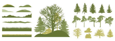 Set of design element. Beautiful silhouettes of spruce and pine and coniferous trees and oak, etc. Spring season. Vector illustration. Ilustração