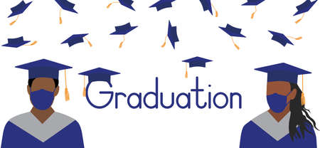 Graduation poster. African American graduates in medical face mask on background of throwing square academic caps. Vector illustration