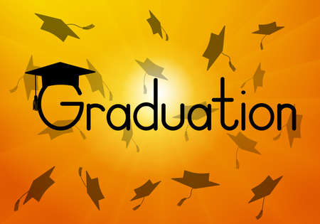 Graduation, throwed square academic caps or mortarboard on background of sunrise. Vector illustration