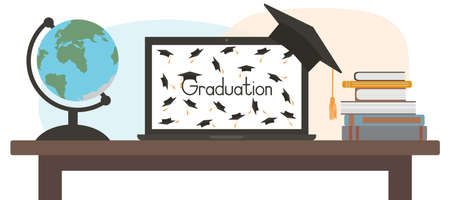 Virtual graduation. Celebration of grad at home through laptop screen. Globe and books on table. Vector illustration