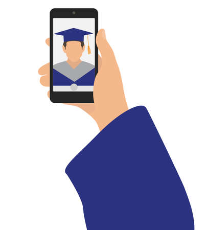 Selfie photo of graduate. Hand of man and phone. Vector illustration