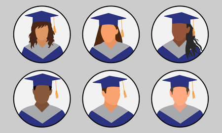 Graduates in mantle and mortarboard, set of icon avatar. Vector illustration Vectores