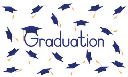 Graduation poster. Throwing dark blue mortarboard or square academic caps. Vector illustration